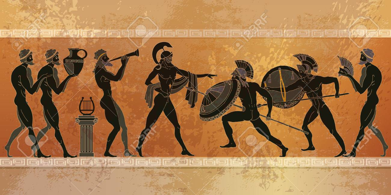 ancient greece scene black figure pottery ancient greek mythology