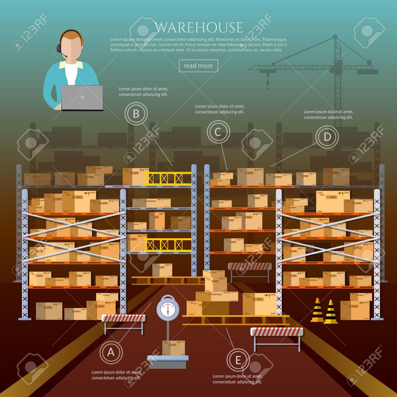 Warehouse-Interieur-Box Auf Rack-und Lagergebäude. 24 Stunden ...