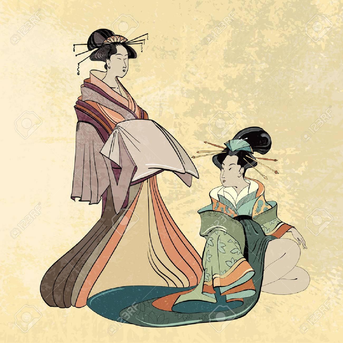 Geisha Japón Antiguo Estilo Clásico De La Mujer Japonesa Antigua