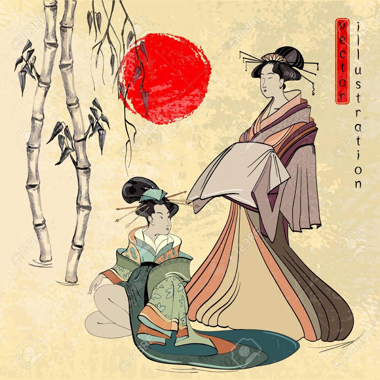 Hermosa Geisha Japonesa Geisha Japón Antiguo Estilo Antiguo De La
