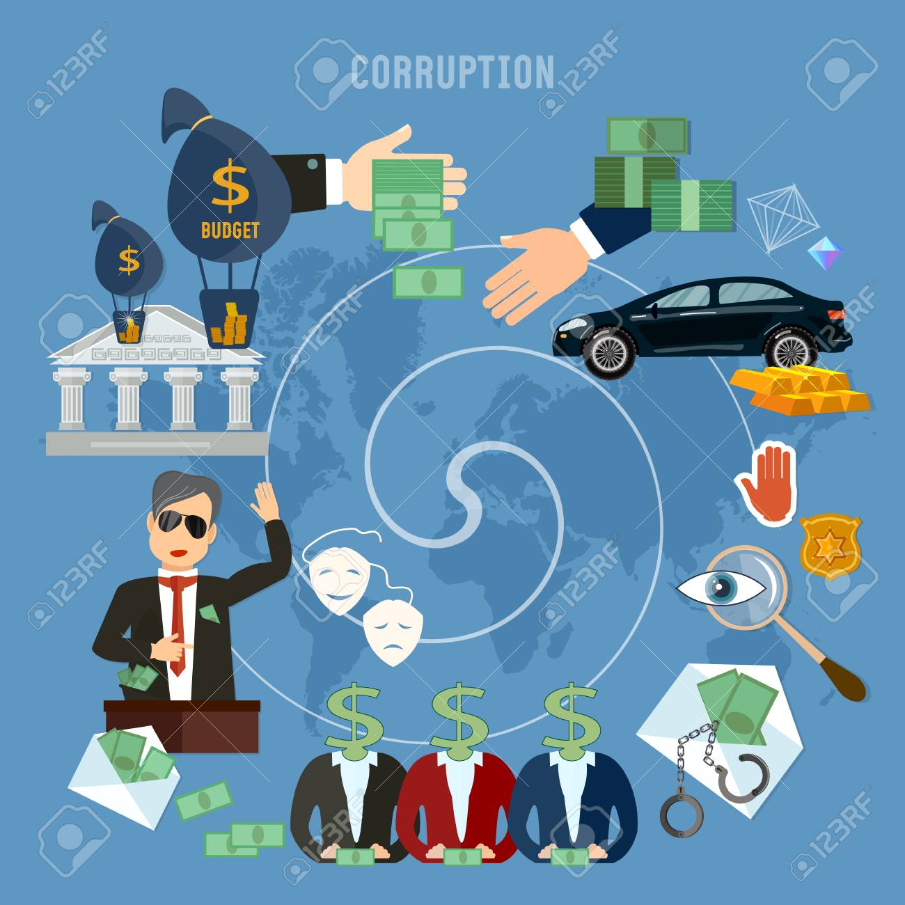 Corruption concept. Theft of public money. Deceitful politician campaign promises bribes. Anti-corruption fight stealing money from budget - 73953289