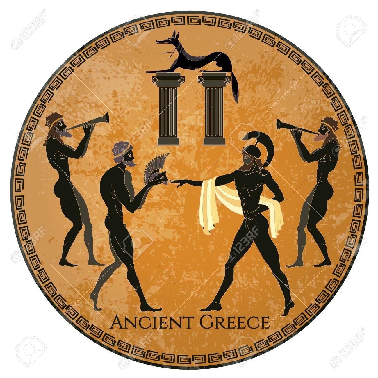 古代ギリシャのシーン。黒図陶器...