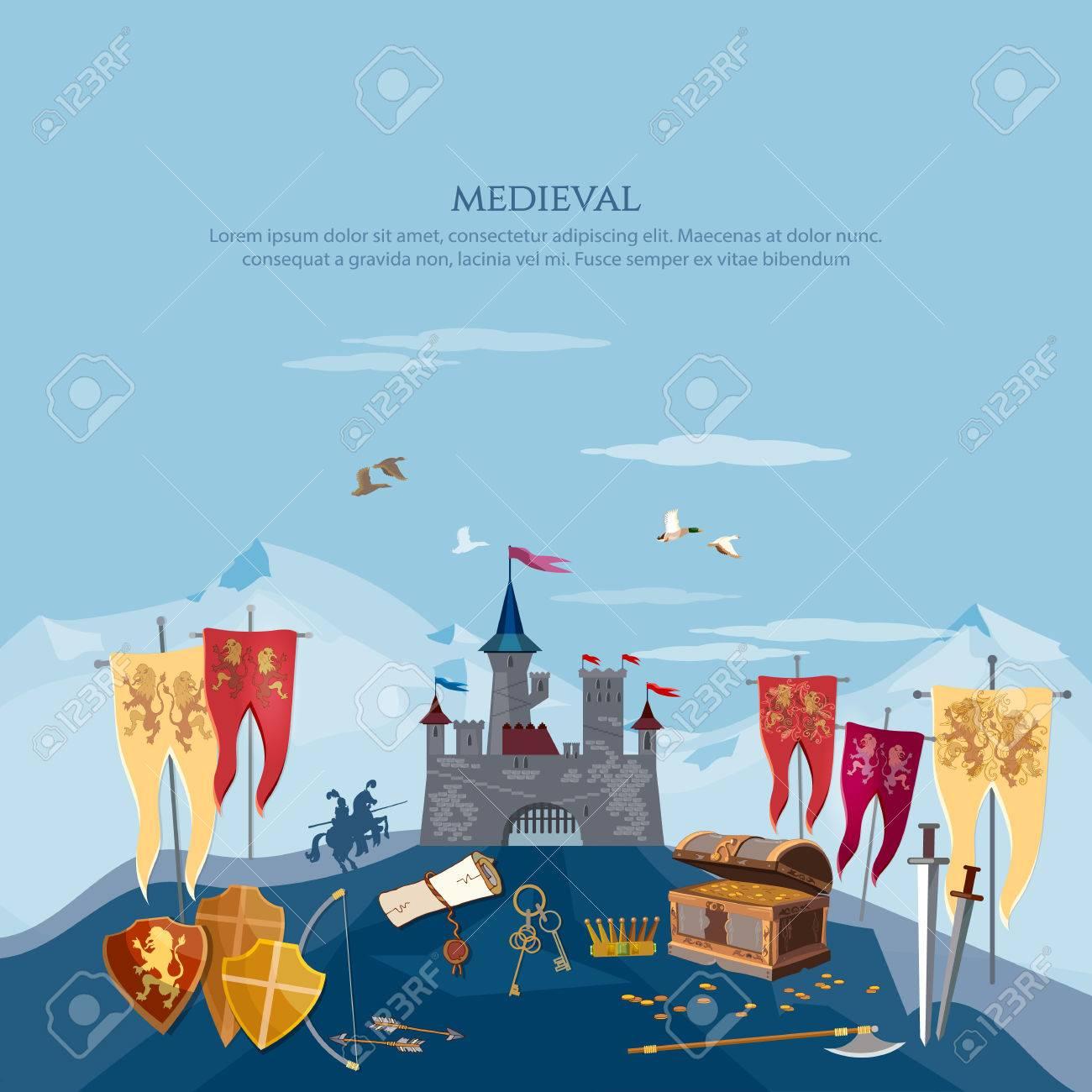 Mittelalterlicher Hintergrund Ritter Alte Waffen Truhe Mit