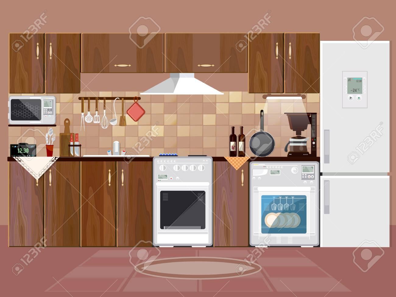 Fondo interior de cocina con muebles. Diseño de vector de plantilla de  cocina moderna