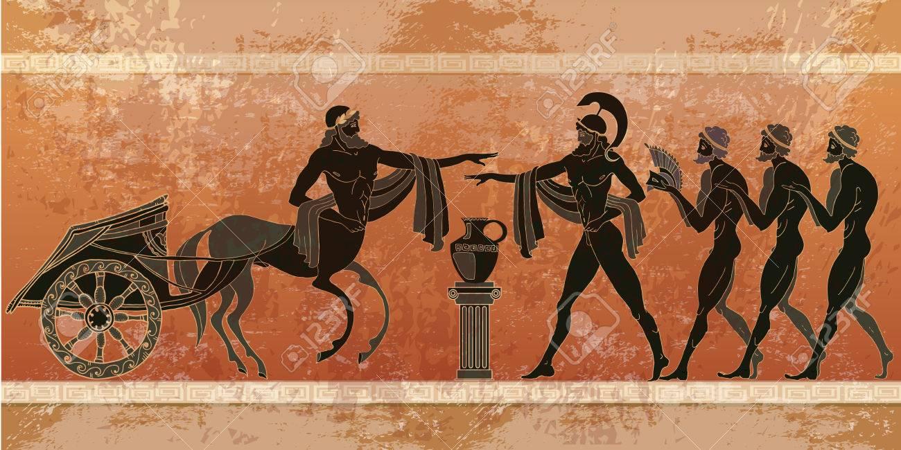 Ancient Greece scene. Black figure pottery. Ancient Greek mythology. - 76583945