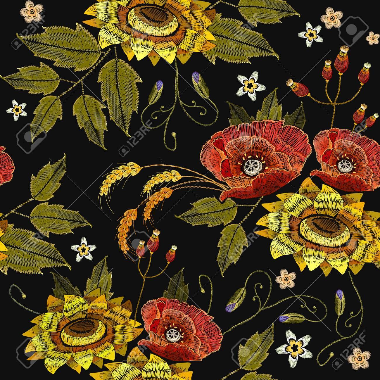 Stickerei Stieg Und Sonnenblumen Nahtlose Muster. Schöne Stickerei ...