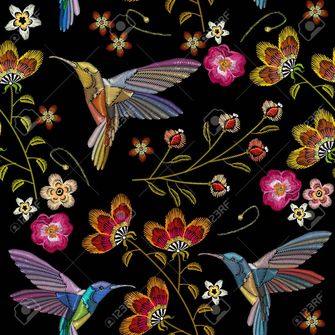 Humming Bird And Tropical Flowers Embroidery Seamless Pattern