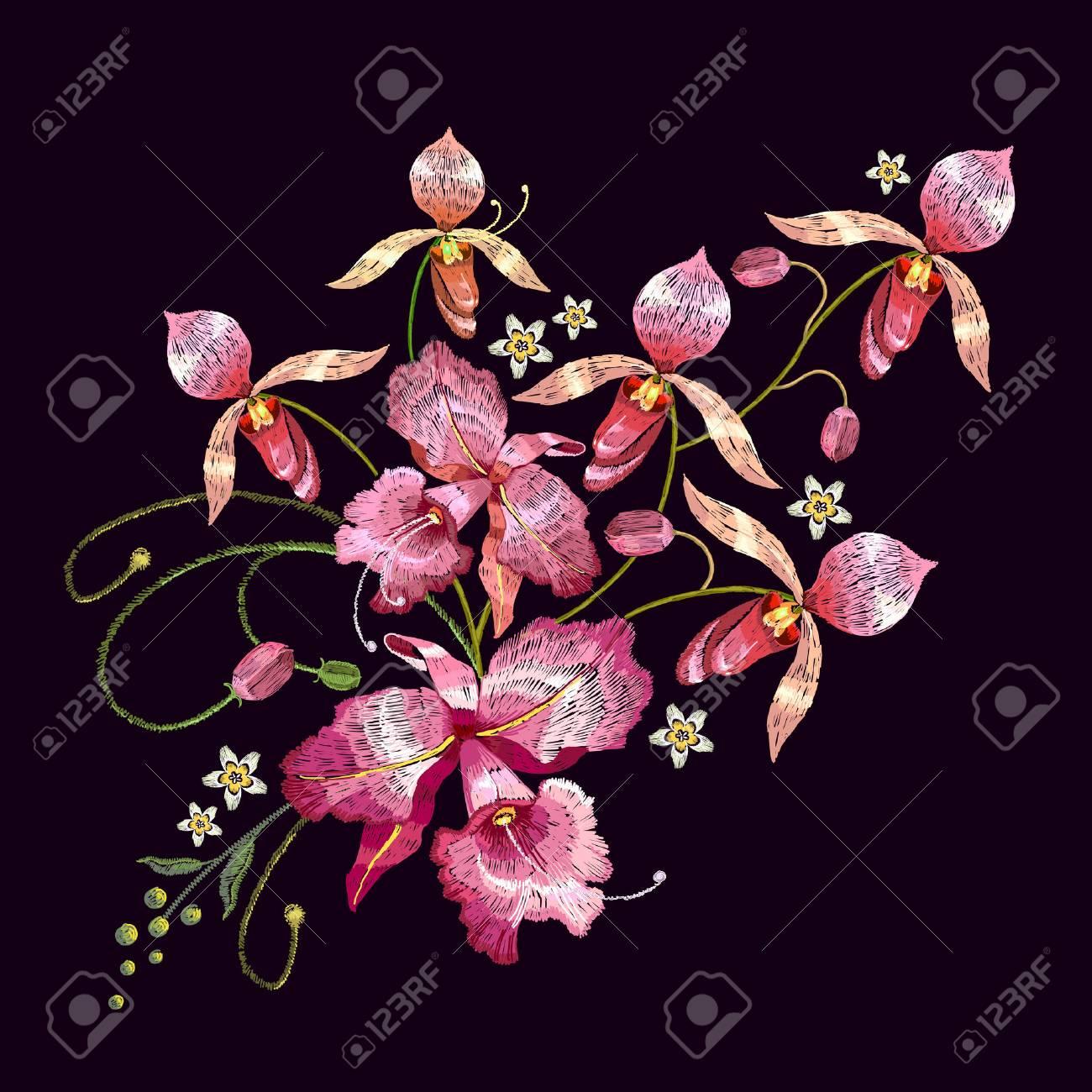 Orchideen-Stickerei. Schöne Tropische Orchideenblume. Vorlage Für ...