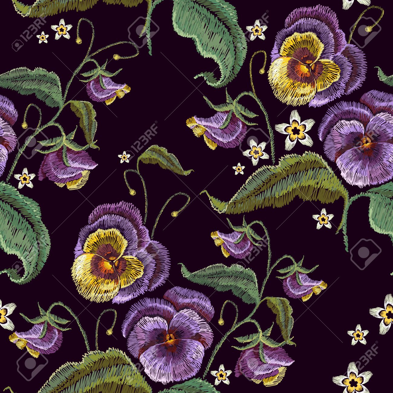 Violets Flower Embroidery Seamless Pattern Classical Embroidery Royalty Free Cliparts Vectors And Stock Illustration Image 78599503