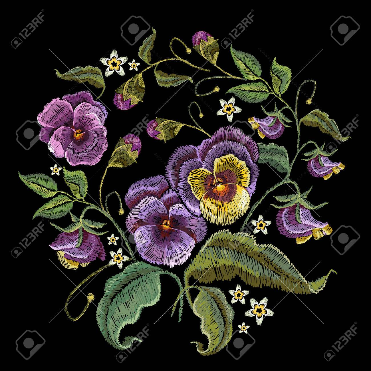 Violets Flower Embroidery Classical Embroidery Beautiful Flowers Royalty Free Cliparts Vectors And Stock Illustration Image 78597839