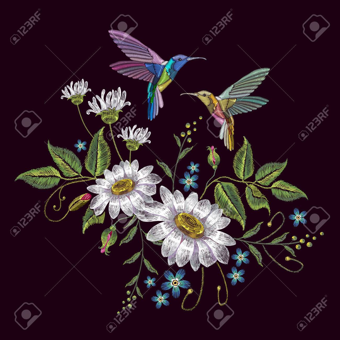 Humming bird and chamomile embroidery. Beautiful hummingbirds and white chamomile embroidery on black background. Template for clothes, textiles, t-shirt design - 78598397
