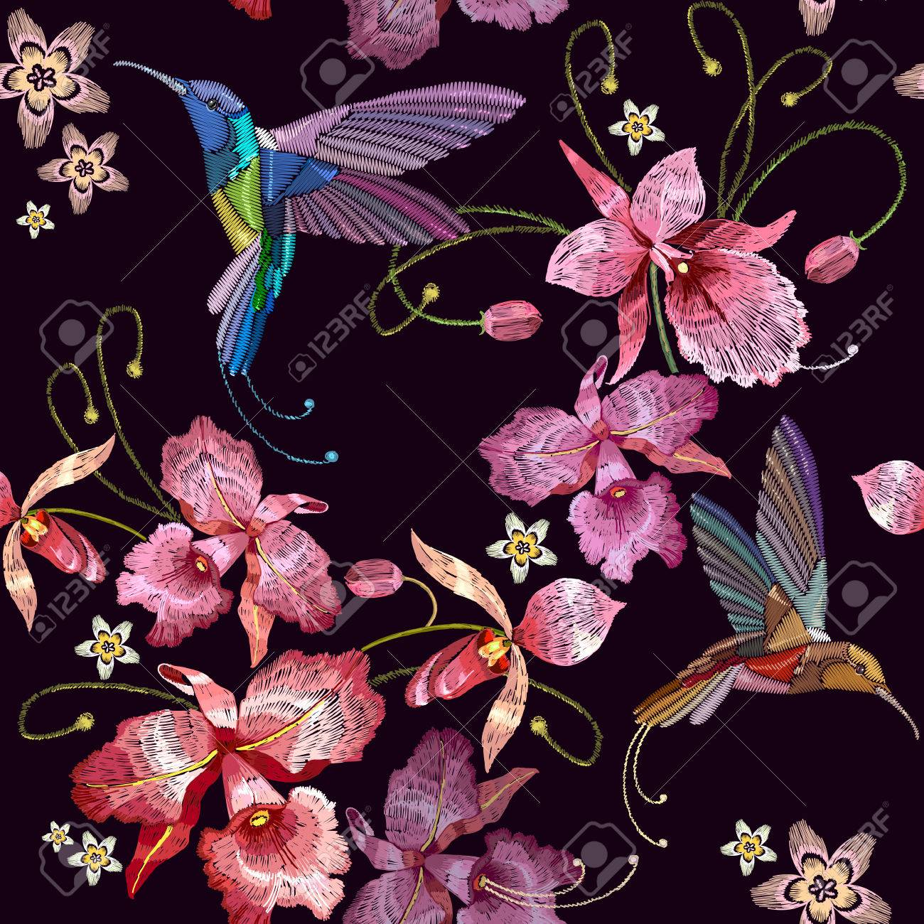 Tararear Aves Y Orquídeas Exóticas Flores Tropicales De Patrones Sin ...