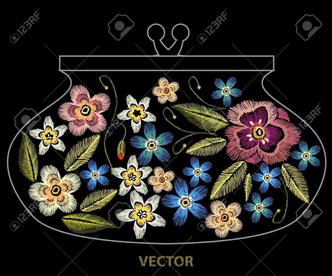 Plantilla De Bordado De Flores Para El Embrague Hermoso Bordado