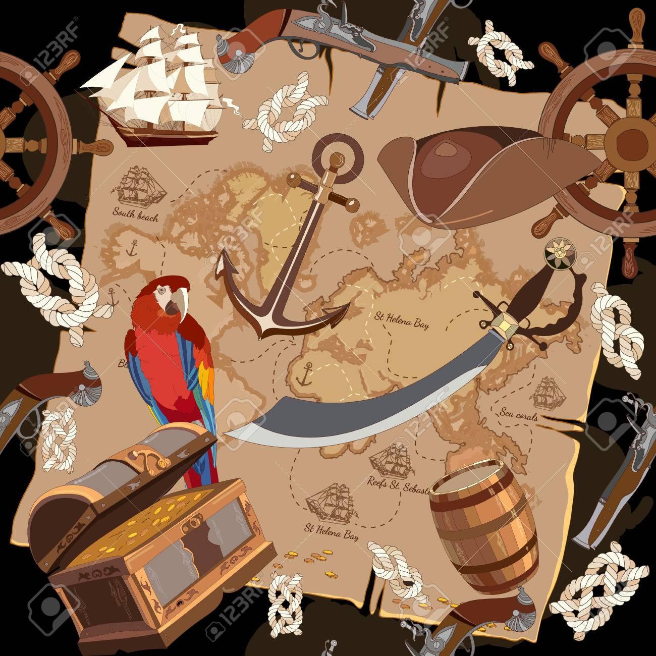 Immagini Di Teschio Pirati vecchio modello pirata del tesoro senza soluzione di continuità. pendente  del teschio del teschio del teschio del pirata del randello del rum del