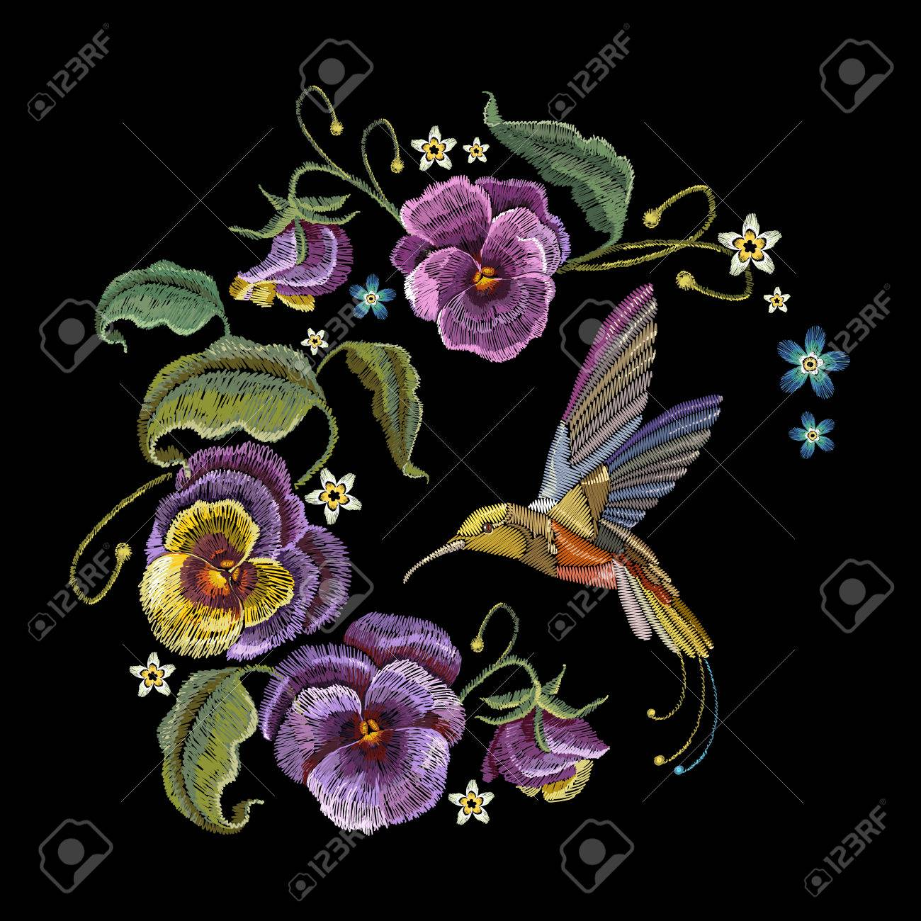 Violets Flower And Humming Bird Embroidery Classical Embroidery Royalty Free Cliparts Vectors And Stock Illustration Image 79998382
