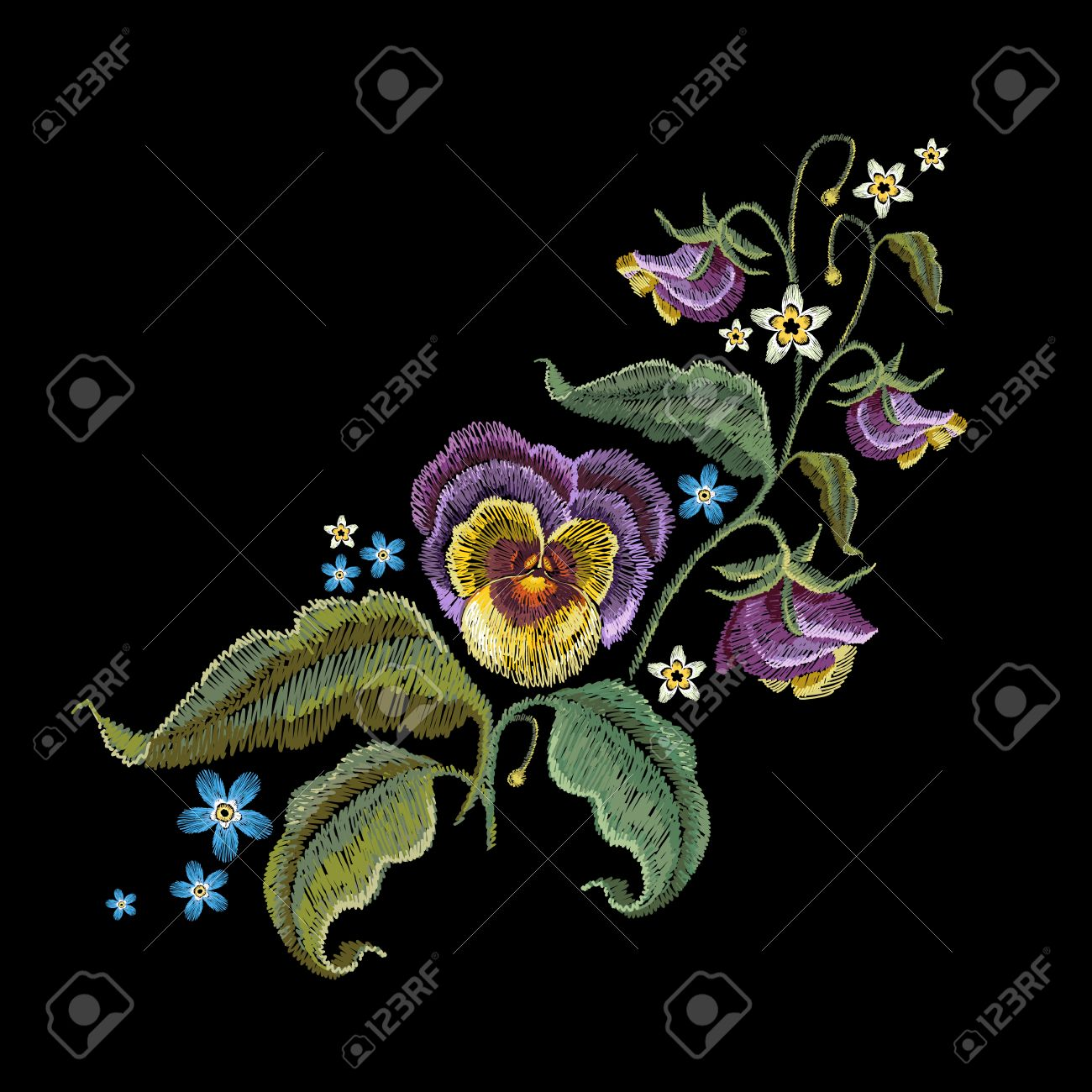 Violets Flower Embroidery Classical Embroidery Beautiful Summer Royalty Free Cliparts Vectors And Stock Illustration Image 80918916