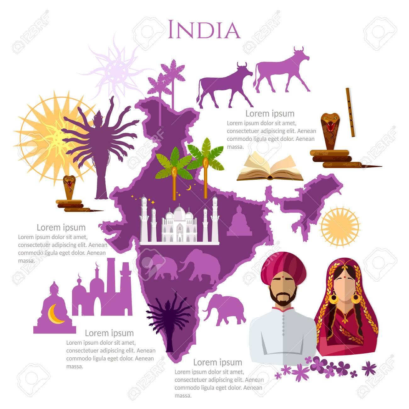 India Infografía. Lugares De Interés, Cultura, Tradiciones, Mapa ...