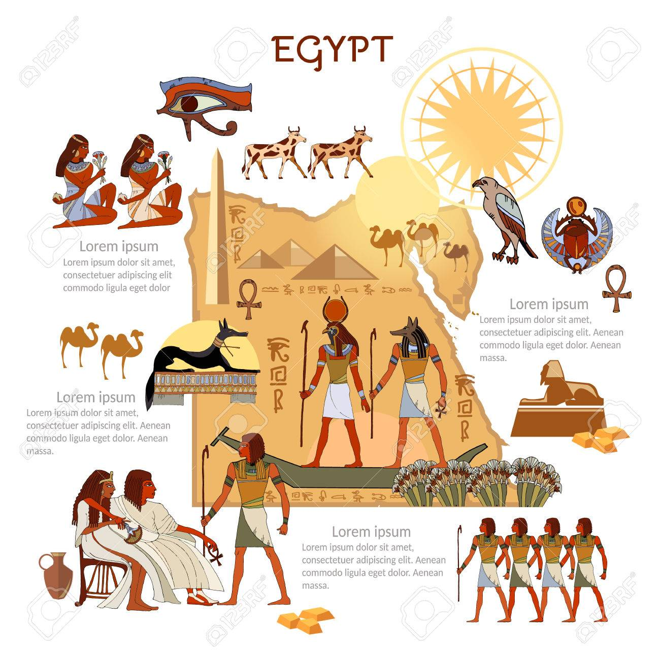 Mapa De Egipto Antiguo.Infografia De Egipto Antiguo Lugares De Interes Cultura Dioses Egipcios Y Las Tradiciones Del Faraon Mapa Personas Elementos De Plantilla De