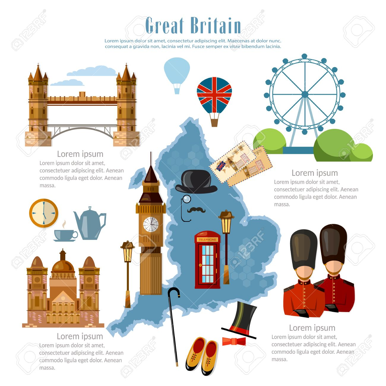 Map Of England Template.Great Britain Infographics Sights Culture England Traditions