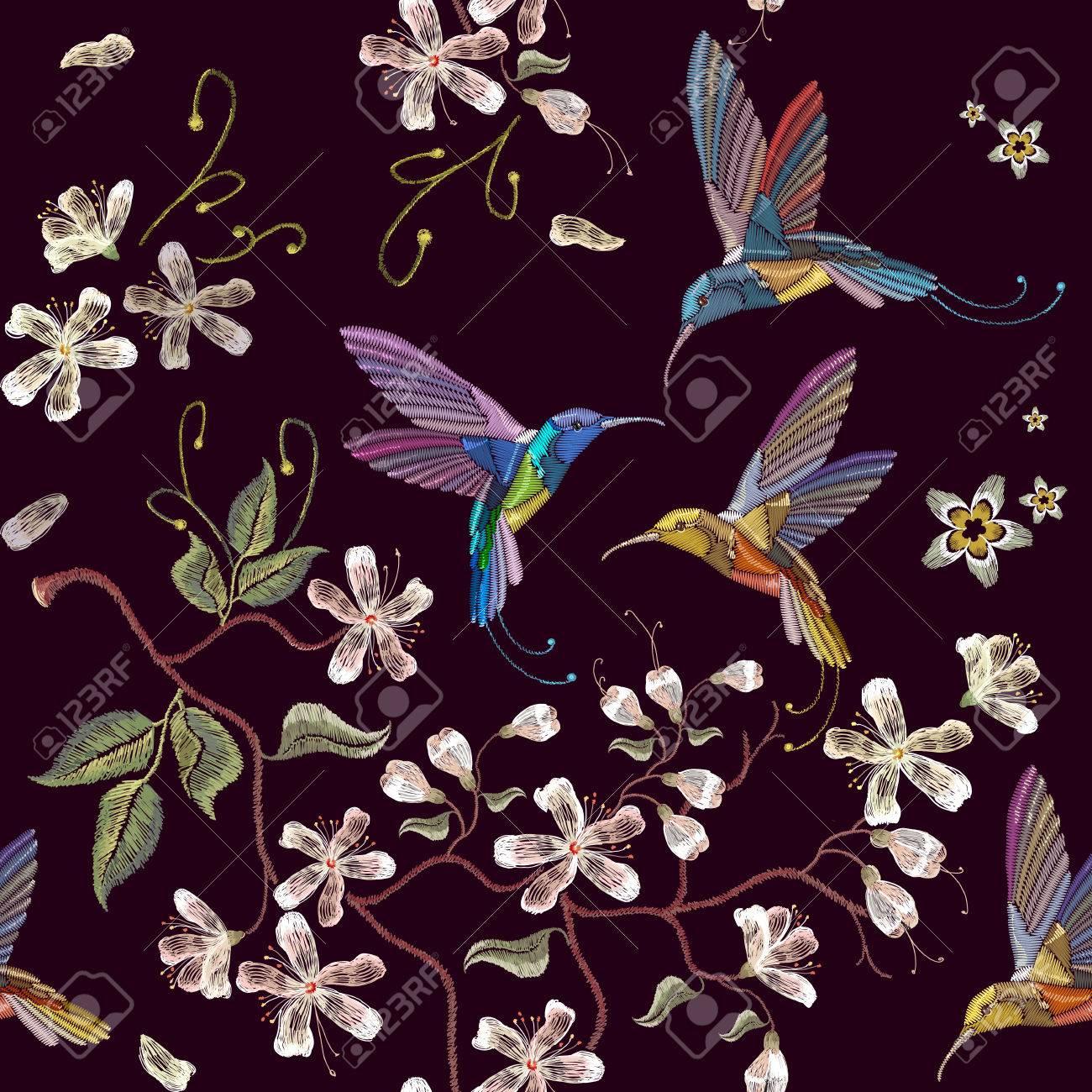 Pájaro Colibrí Y Patrón De Flores De Cerezo Bordado Sin Fisuras ...