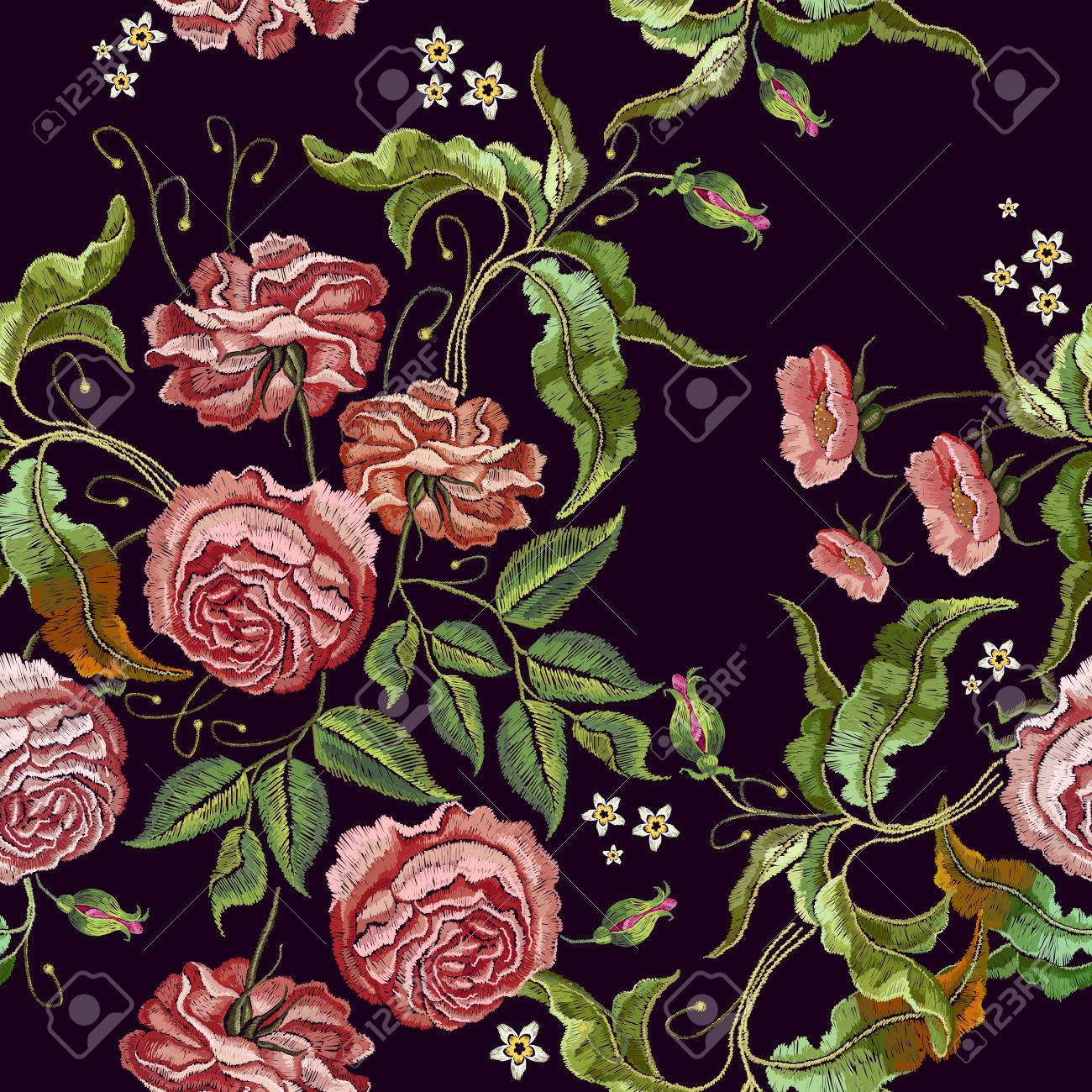Roses Embroidery Seamless Pattern. Fashionable Template For Design on garden dress forms, country garden designs, garden edging designs, garden home designs, garden wedding designs, garden fabric, garden box designs, garden art designs, garden cake designs, garden motif design, garden surface pattern designs, garden window designs, garden flowers designs, garden needlepoint designs,