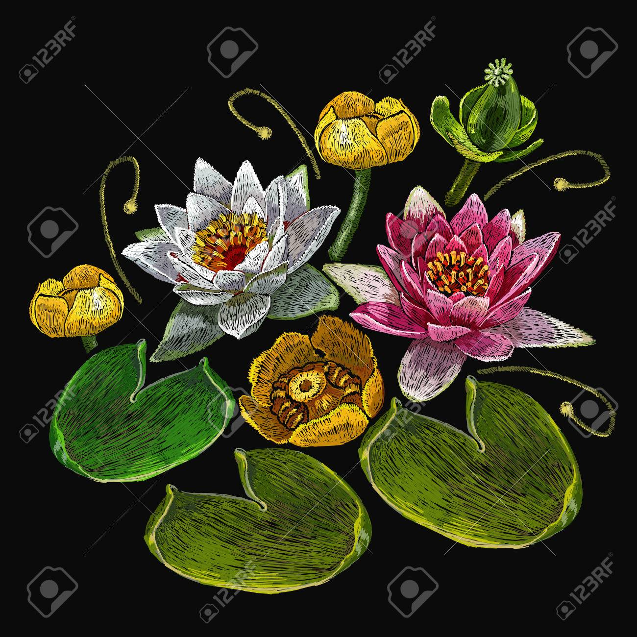Embroidery Water Lily Flowers Classical Embroidery Lotus And