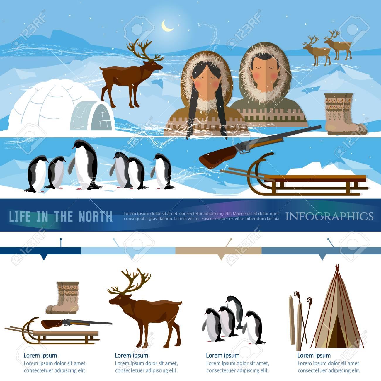Gemeinsame Wild Nord-Arktis Infografik, Menschen In Traditionellen Eskimos &YX_89