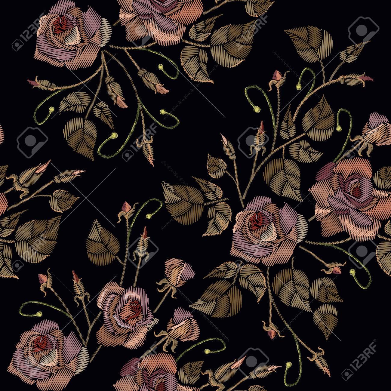 Vettoriale Ricamo Vintage Rosa Senza Soluzione Di Continuità Su