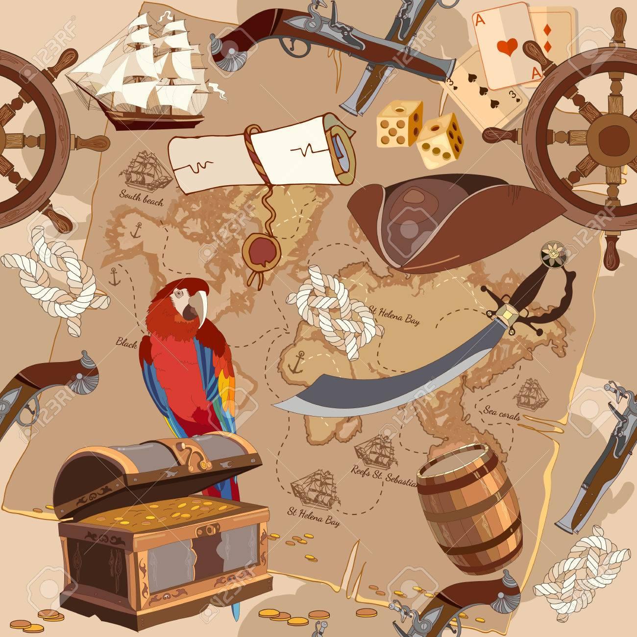 Pirate Woman Opening Treasure Chest Illustration 11853756 - Megapixl