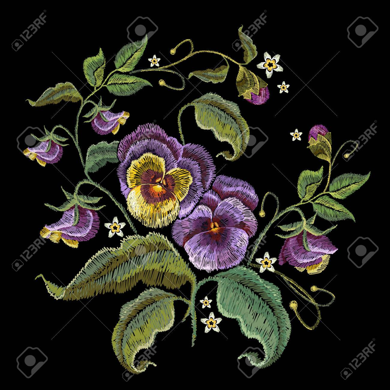 Violets Flower Embroidery Fashionable Design Of Clothes T Shirt Royalty Free Cliparts Vectors And Stock Illustration Image 86178429
