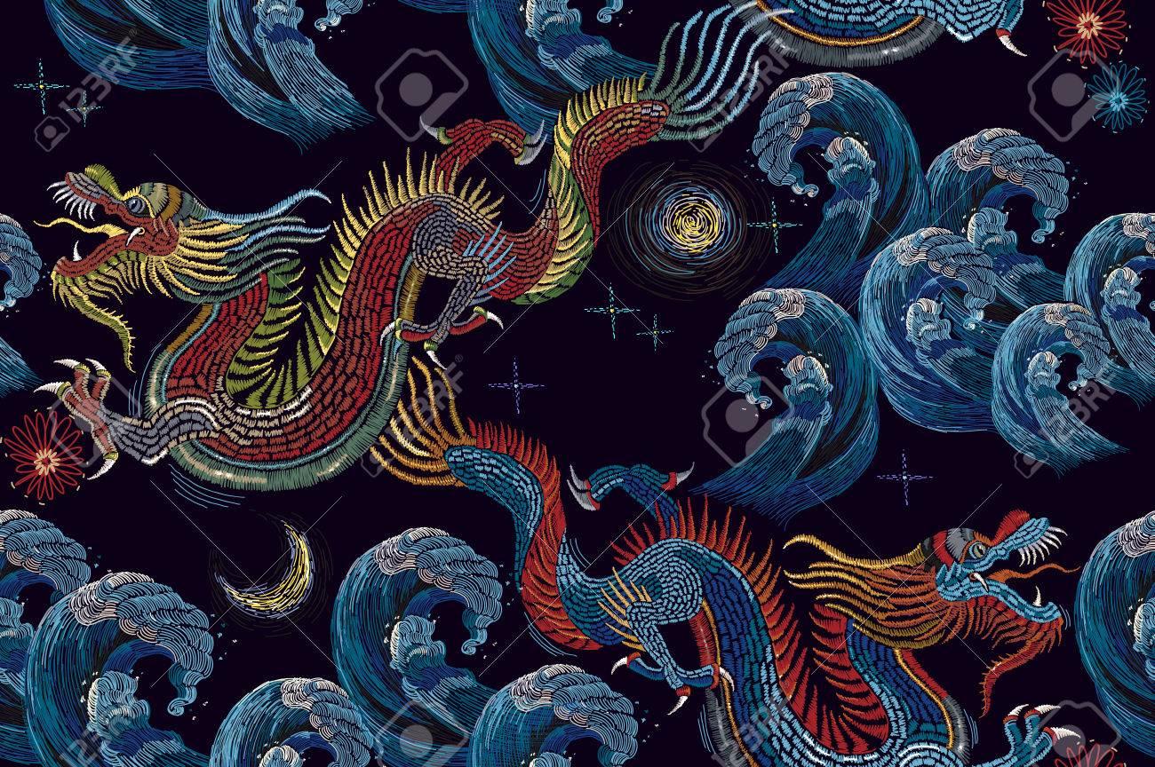 Bordado Dragones Chinos Y Mar Onda De Patrones Sin Fisuras Clásico