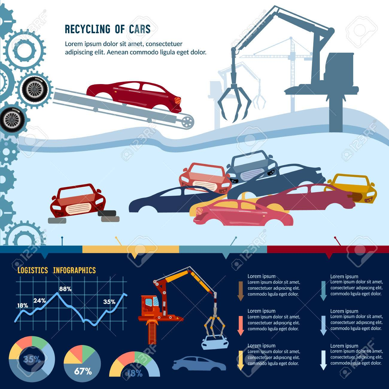 Car Recycling Infographic. Industrial Crane Claw Grabbing Old ...