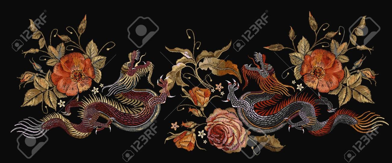 Bordado Dos Dragones Chinos Y Flores De Rosas Dragones Asiáticos