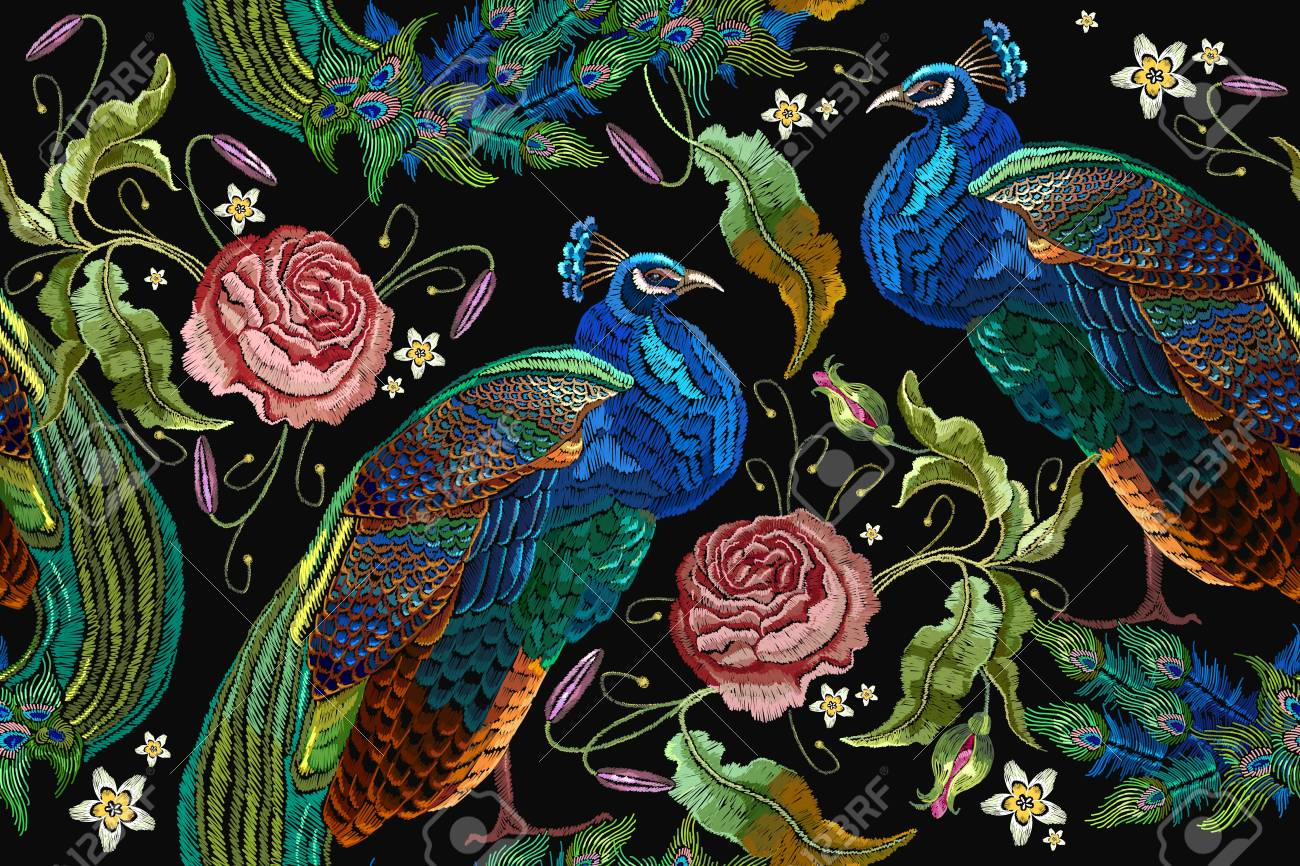 Embroidery peacocks and flowers peonies seamless pattern. Classical fashionable embroidery beautiful peacocks. Archivio Fotografico - 88293889
