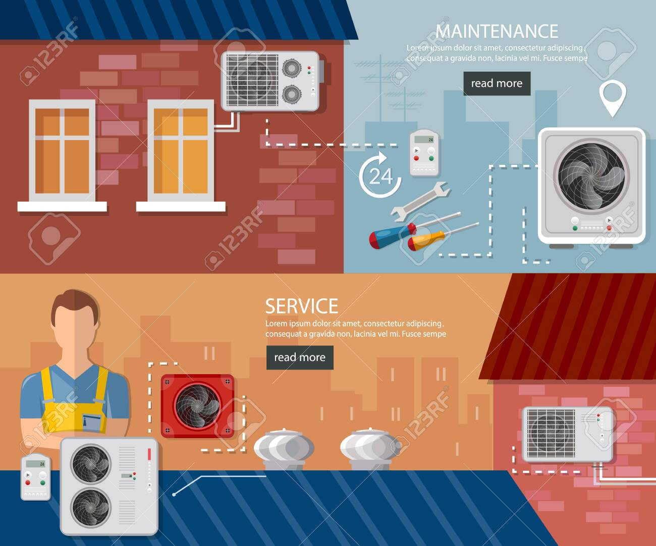Split System Check Ventilation Systems Installation Of Air Conditioners Royalty Free Cliparts Vectors And Stock Illustration Image 126839744
