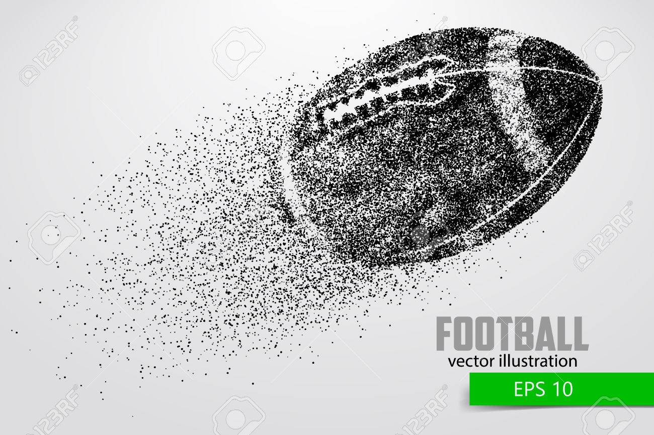 silhouette of a football ball from particle. Background and text on a separate layer, color can be changed in one click. - 66078318