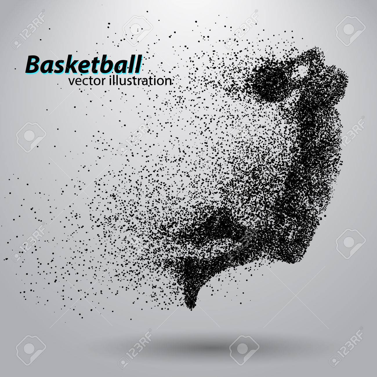 Basketball player from particles. Background and text on a separate layer, color can be changed in one click. Basketball abstract - 67497375