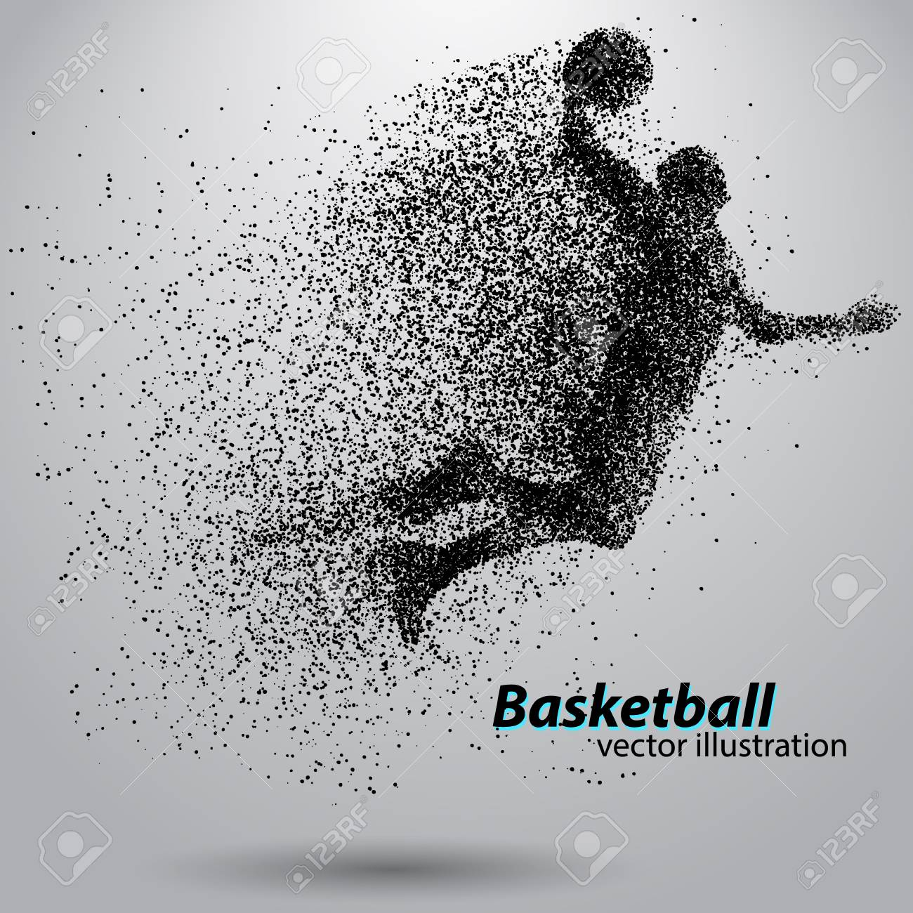Basketball player from particles. Background and text on a separate layer, color can be changed in one click. Basketball abstract - 67497388