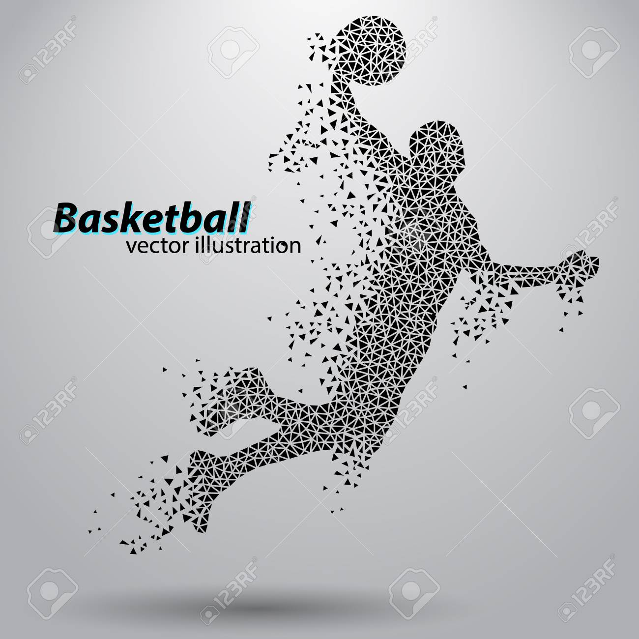 Basketball player of the triangles. Background and text on a separate layer, color can be changed in one click - 67497391
