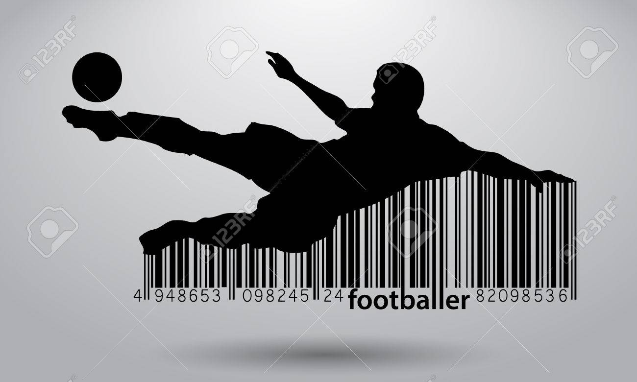 silhouette of a football player. Text and background on a separate layer, color can be changed in one click. - 67497456