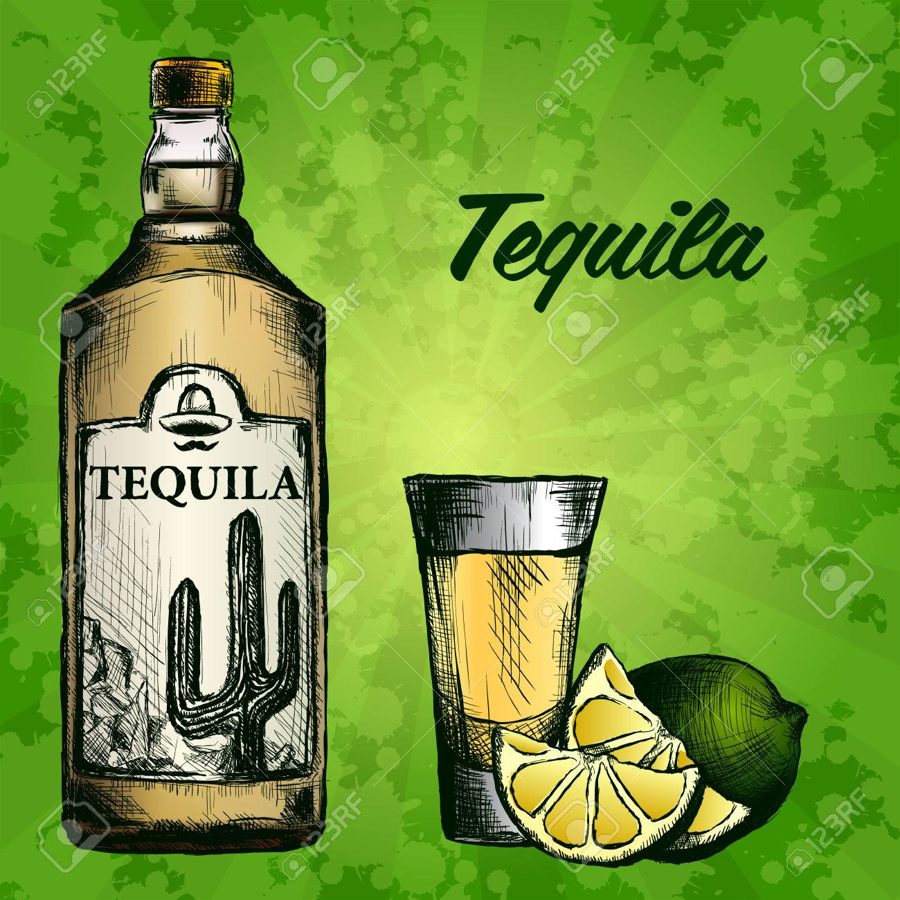 Bottle of tequila with lime and glass. painted by hand. Text and background on separate layers - 67497475