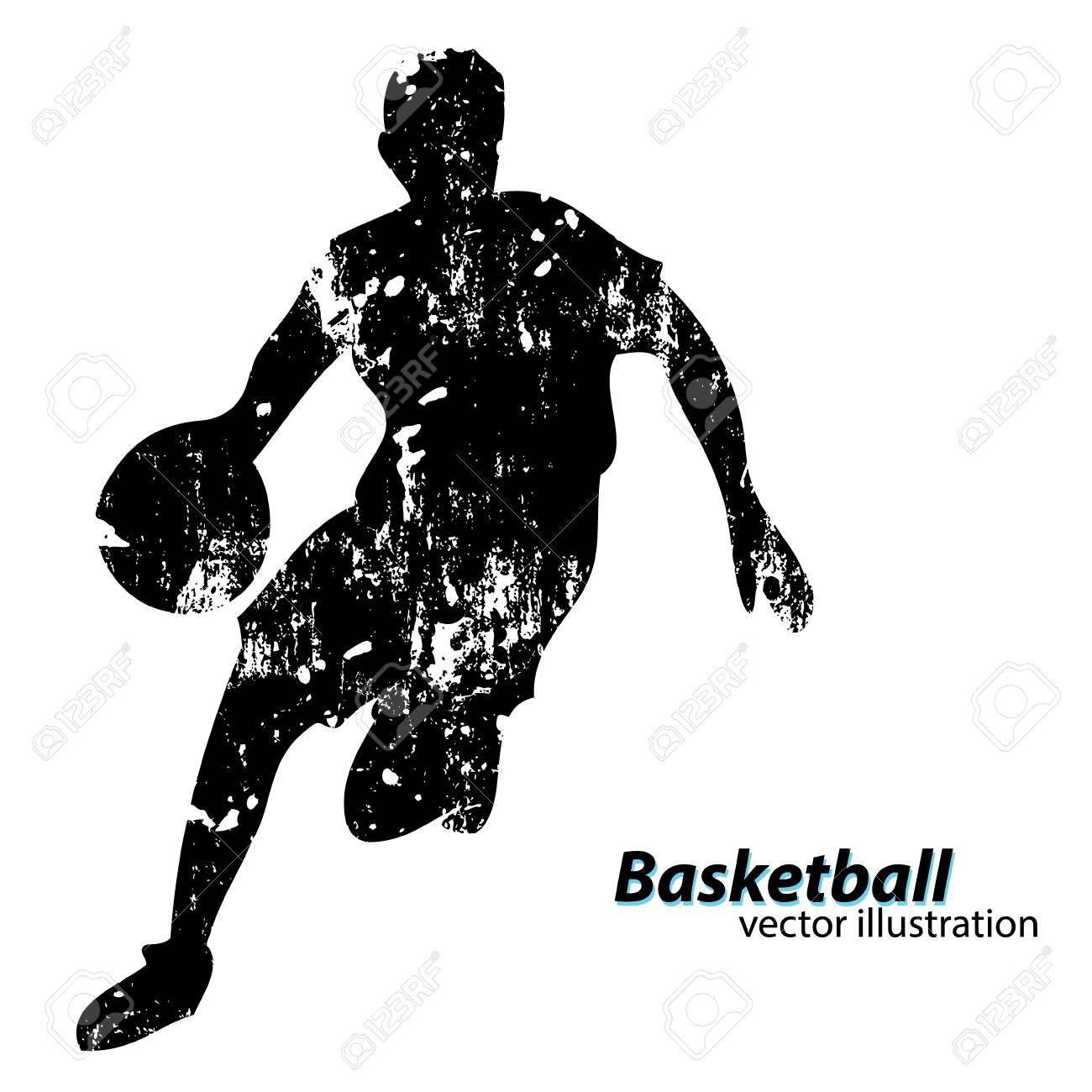 Silhouette of a basketball player. Background and text on a separate layer, color can be changed in one click - 67503179
