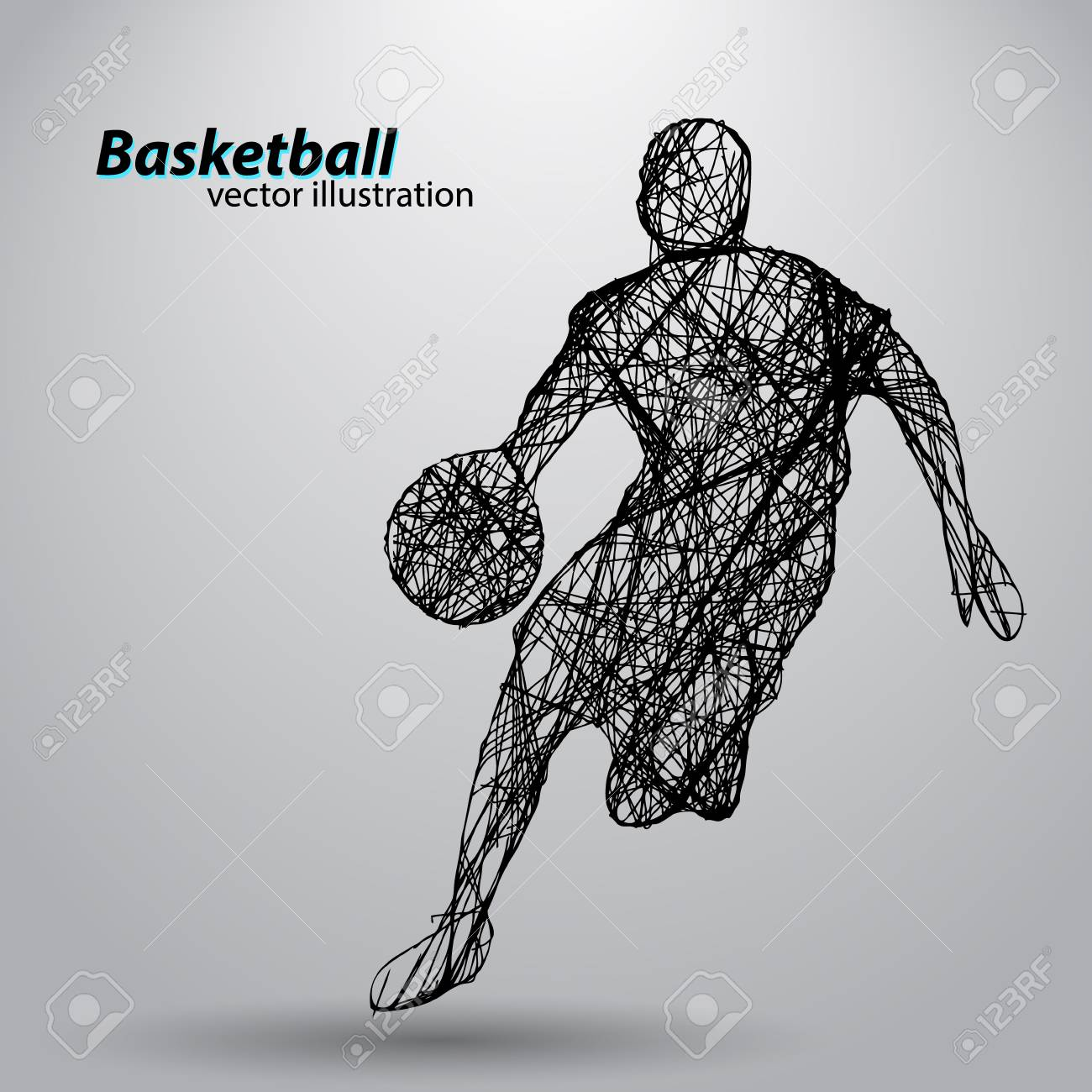 Silhouette of a basketball player. Background and text on a separate layer, color can be changed in one click - 67503177