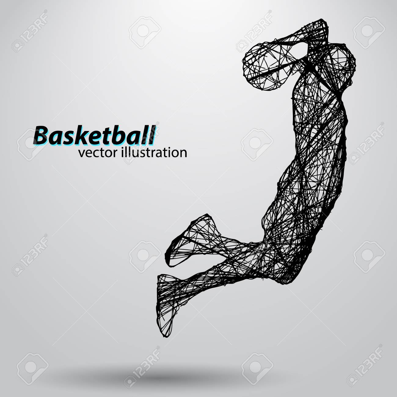 Silhouette of a basketball player. Background and text on a separate layer, color can be changed in one click - 67503181