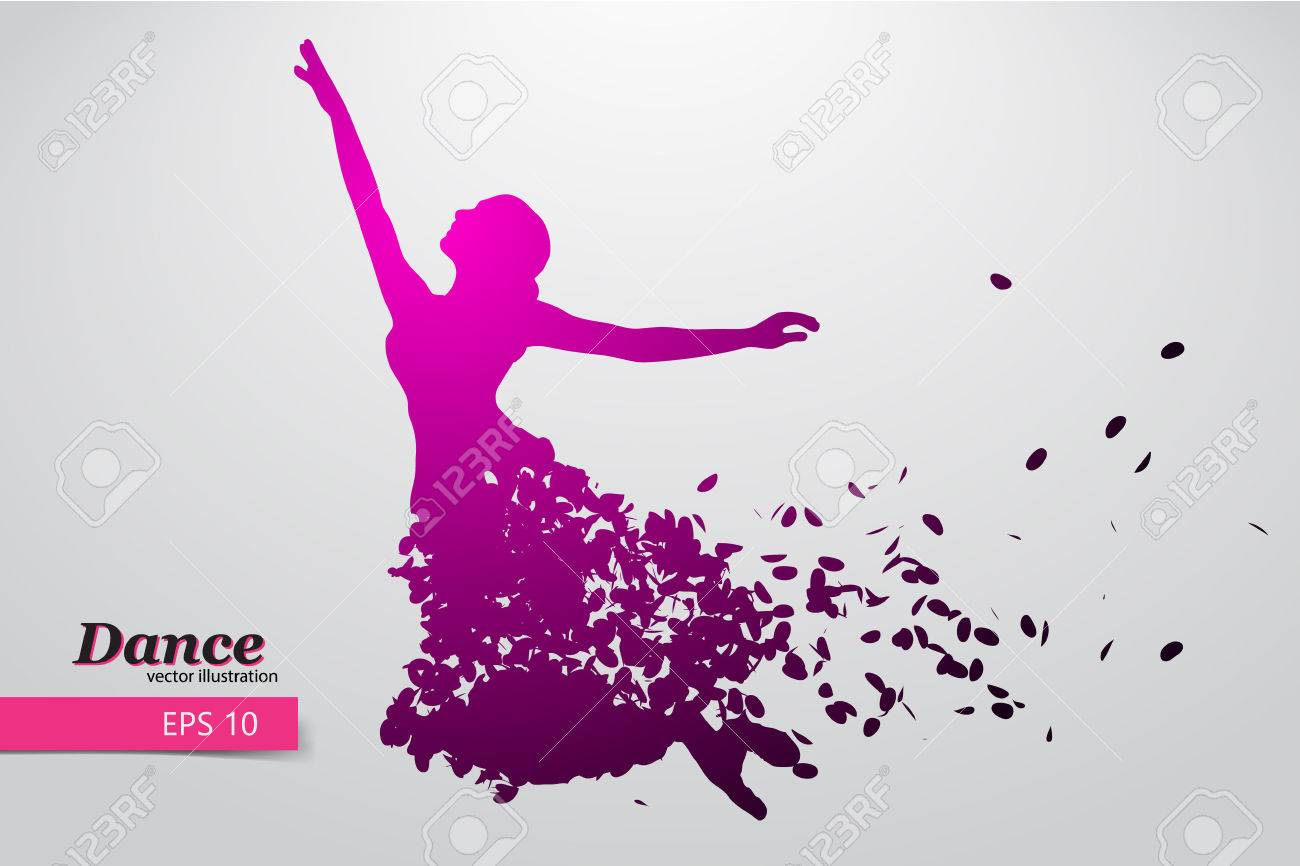 Silhouette of a dancing girl. Background and text on a separate layer, color can be changed in one click. - 67767040