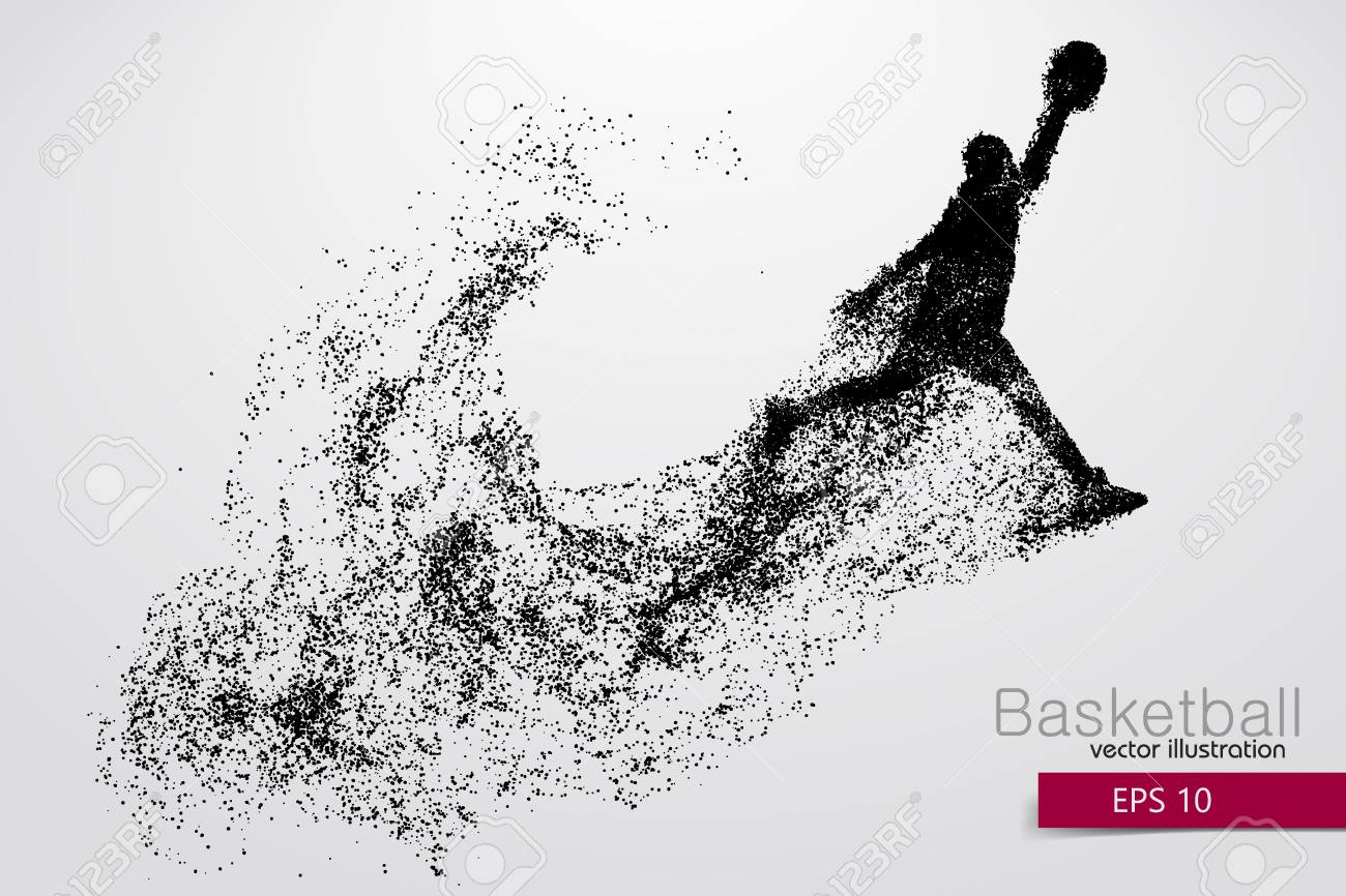 Basketball player from particles. Background and text on a separate layer, color can be changed in one click. Basketball abstract - 67770785