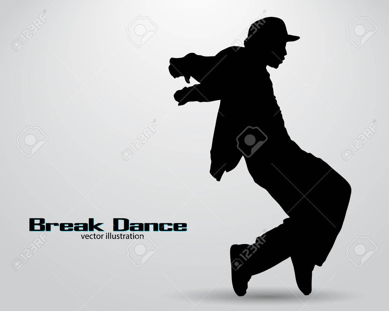 Silhouette of a break dancer. Background and text on a separate layer, color can be changed in one click - 67770802