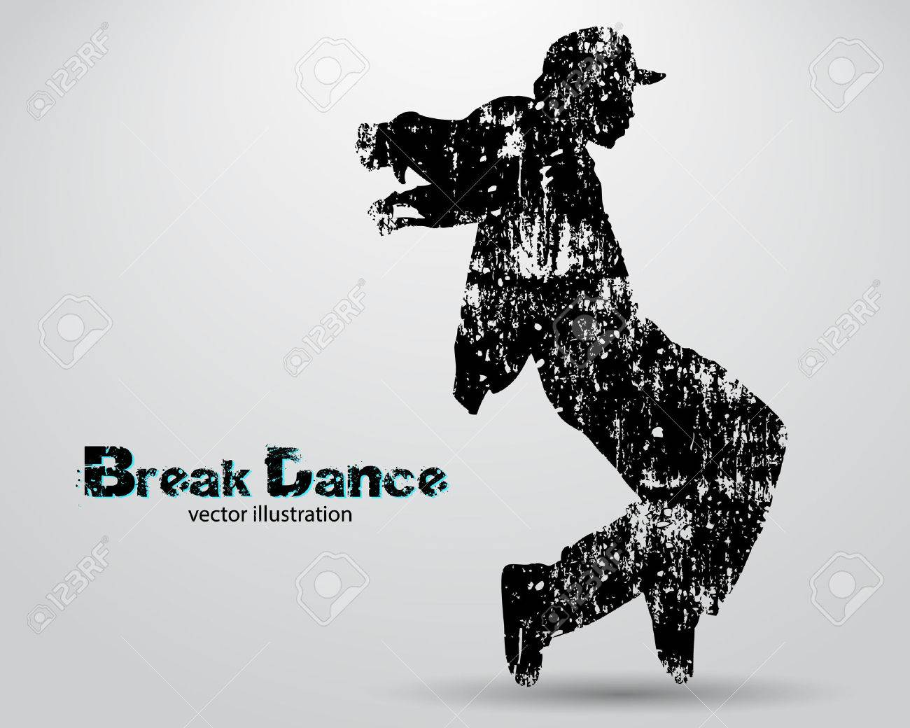 Silhouette of a break dancer. Background and text on a separate layer, color can be changed in one click - 67770807