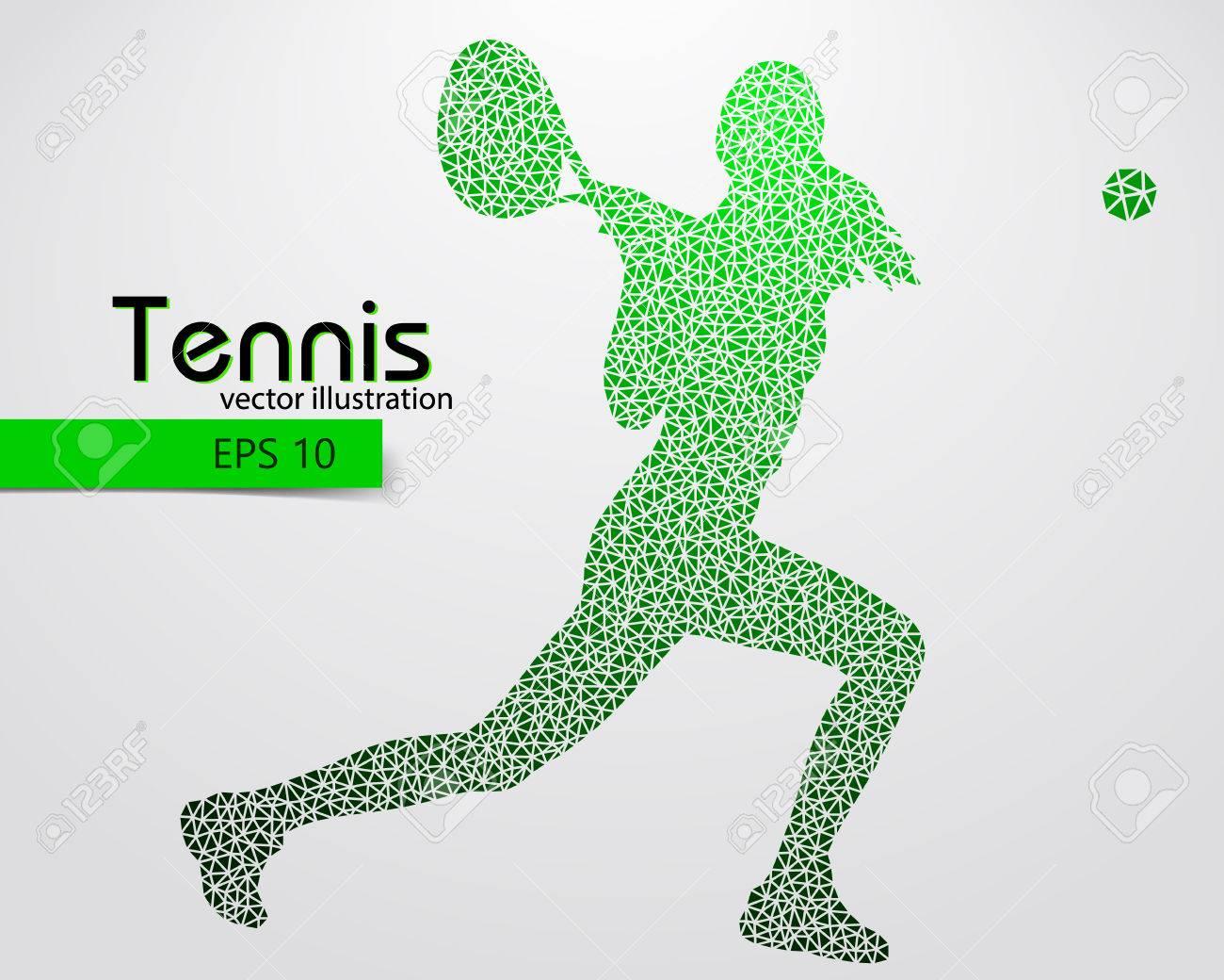 Silueta De Un Jugador De Tenis A Partir De Triángulos. Texto Y El ...