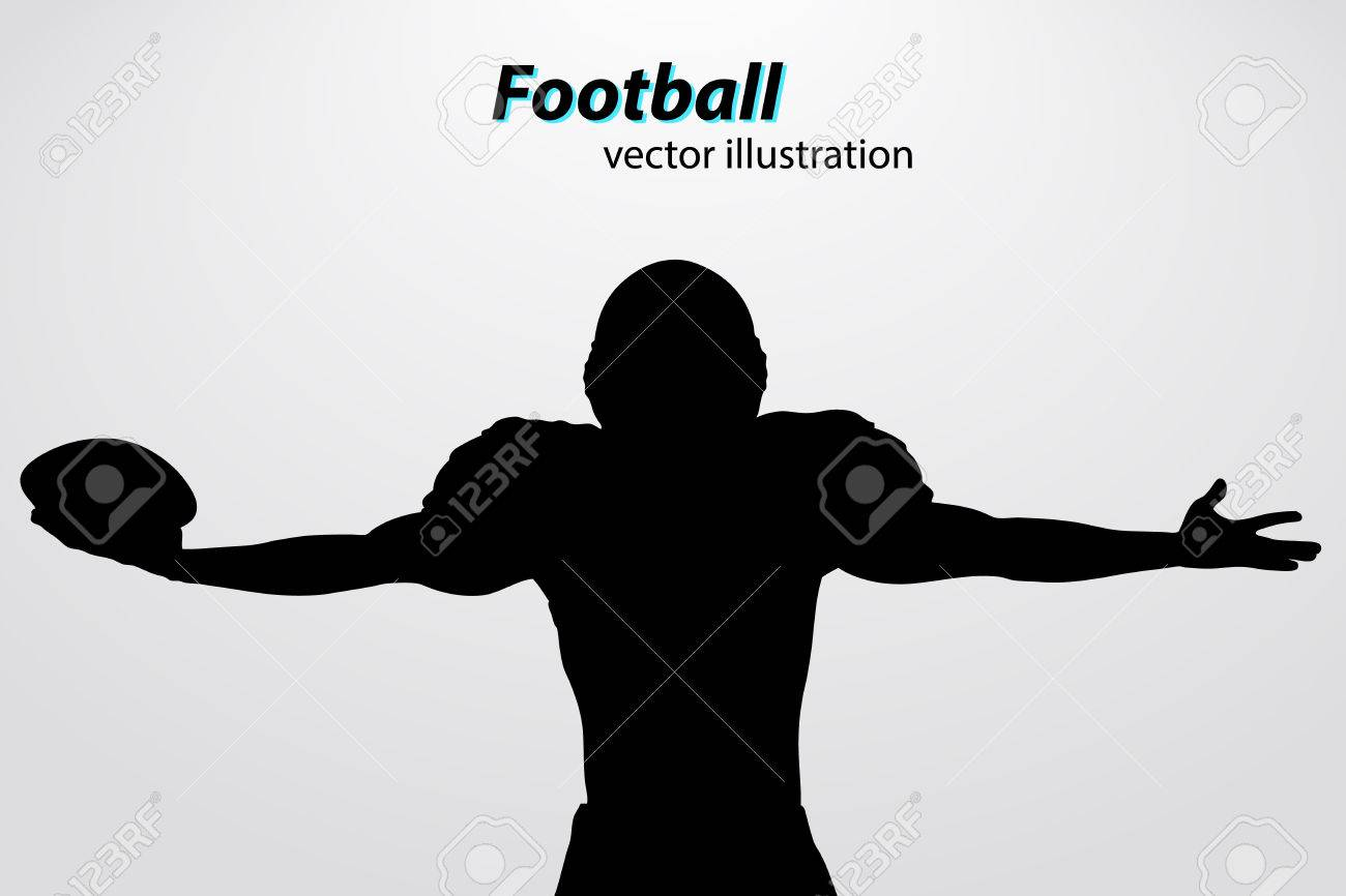 silhouette of a football player. Background and text on a separate layer, color can be changed in one click. Rugby. American football - 67776449